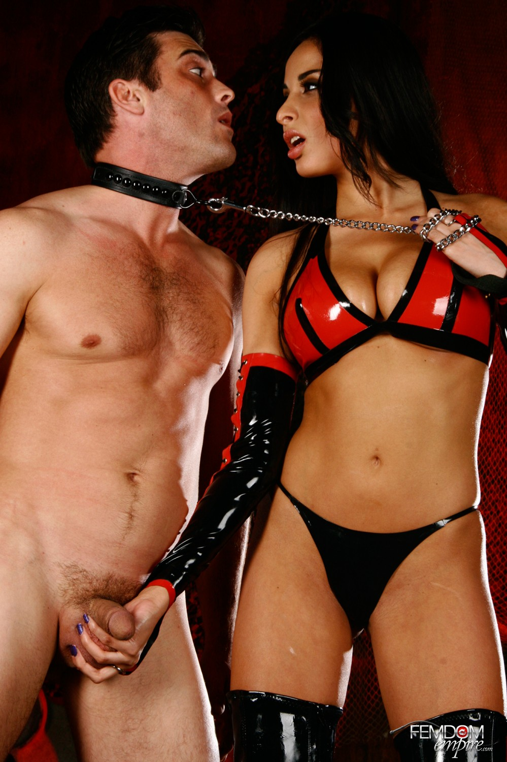 Domme Anissa Kate takes her slave by the nut and puts him to work worshiping her donk.