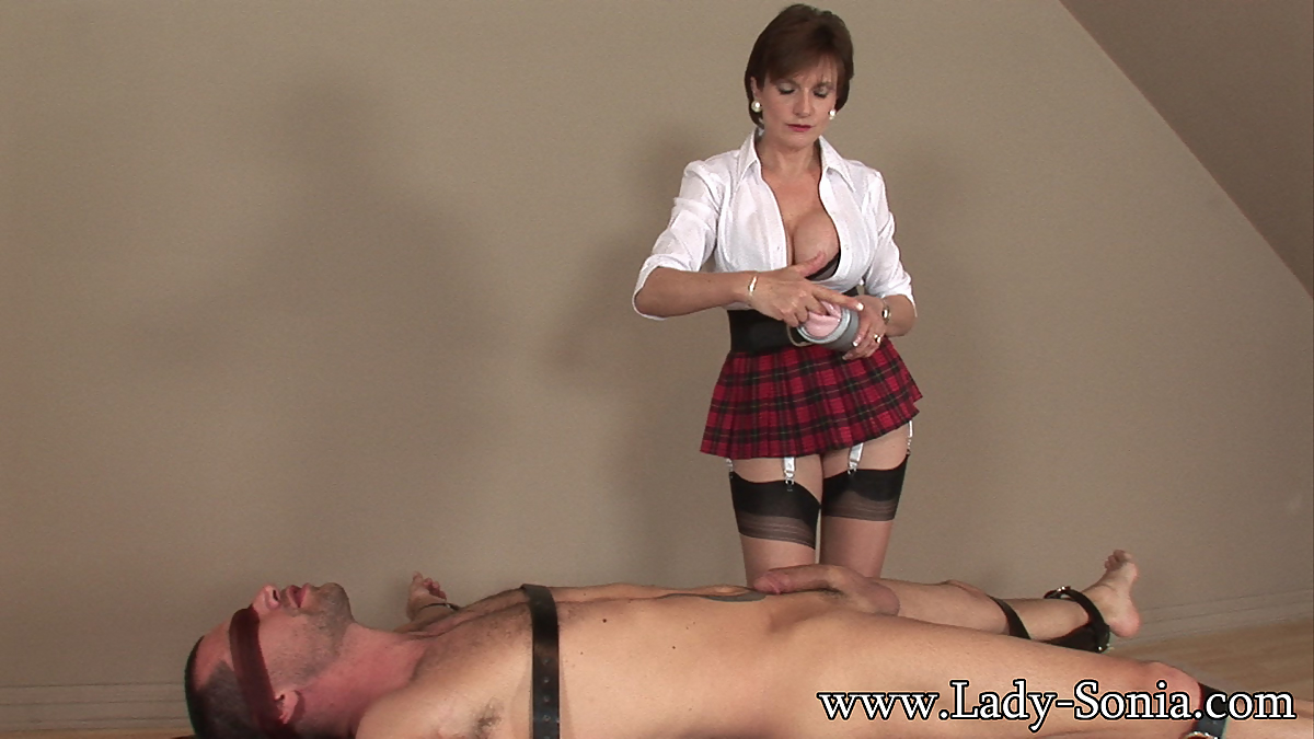 Damsel Sonia trussed down and nailed firm