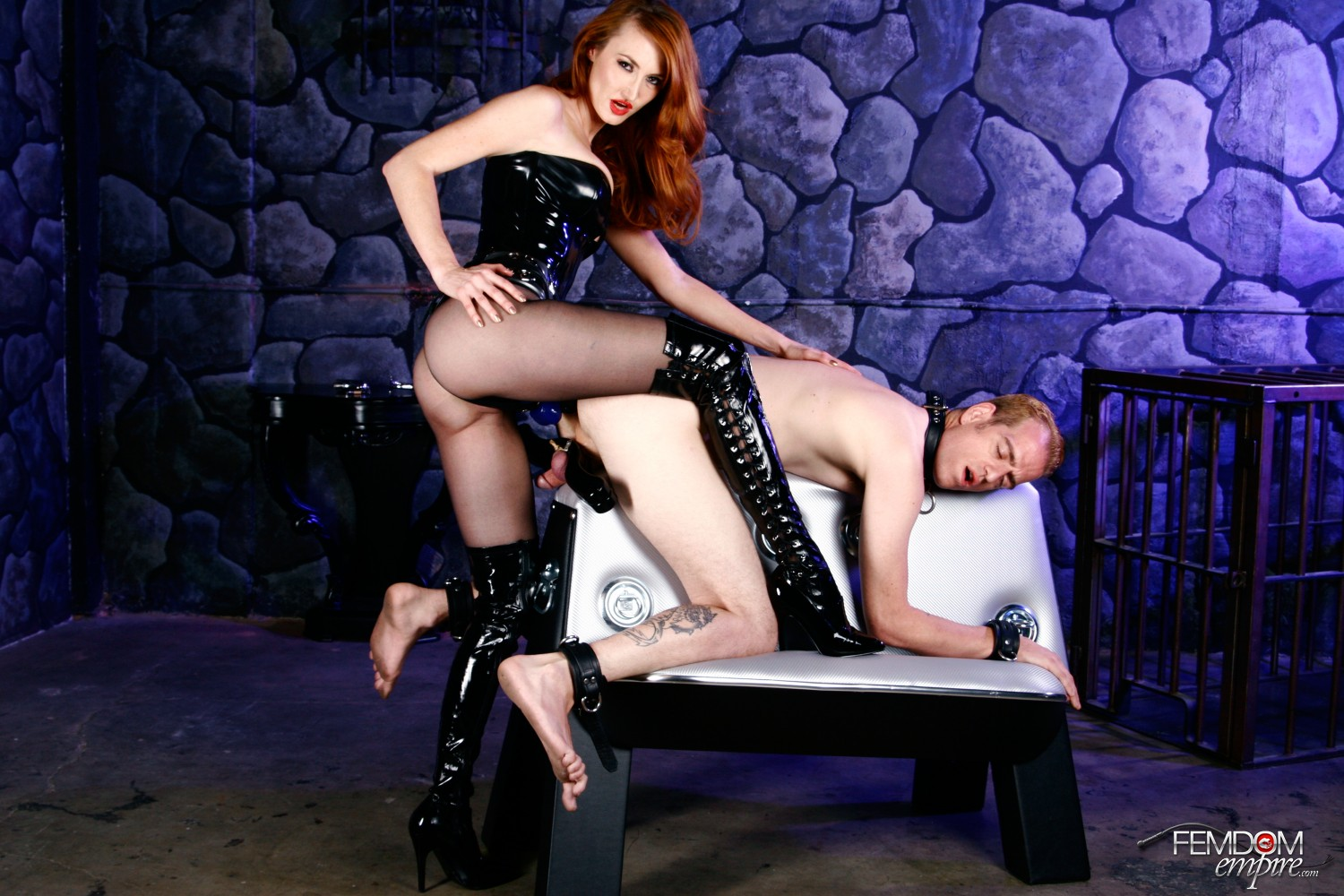 Dominatrix Kendra James screws her humbled biotch into subordination with her strap-on guy sausage.