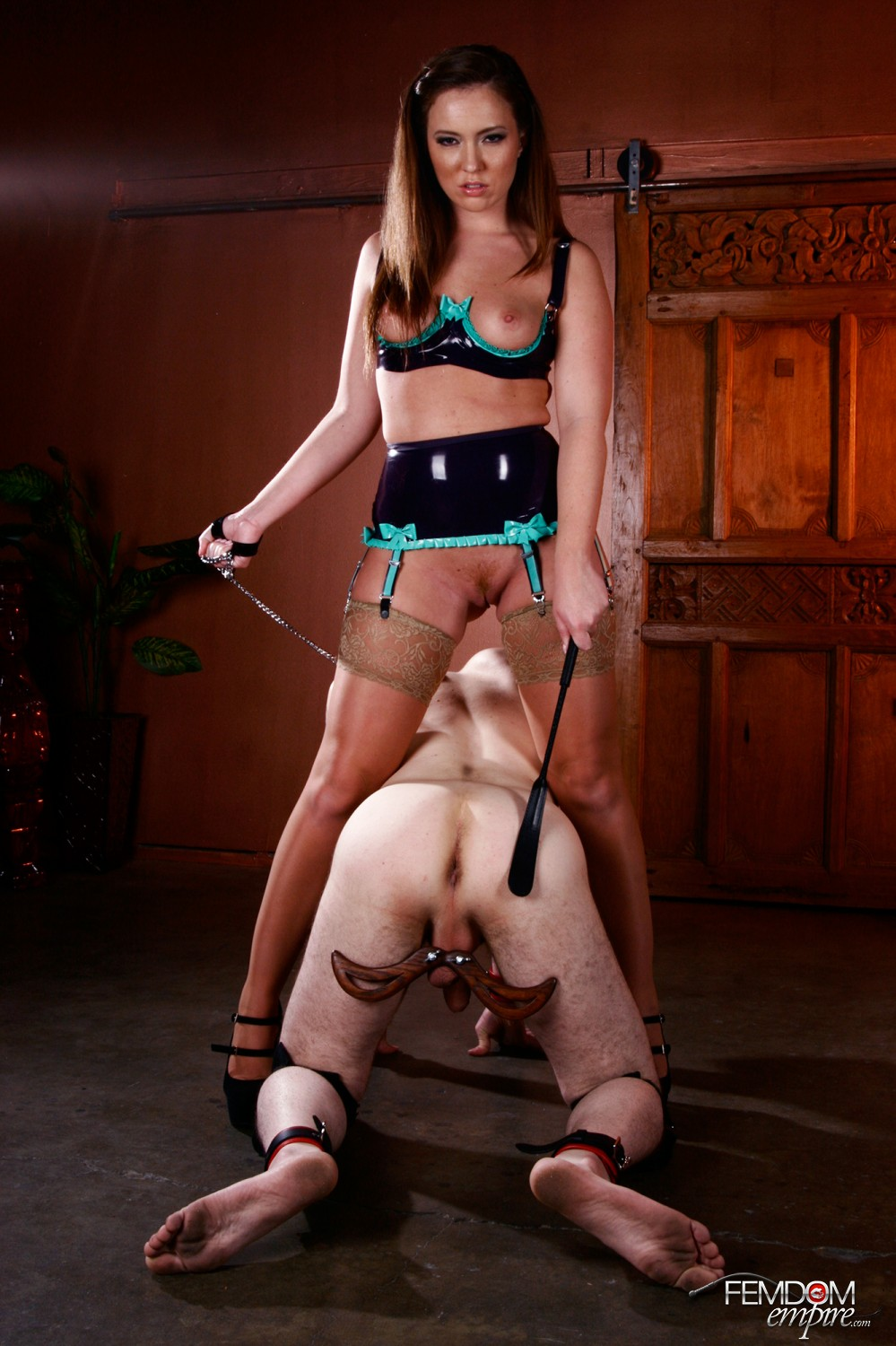Mistress Maddy O'Reilly is going to take out her bad mood on her humbled sub's plums.